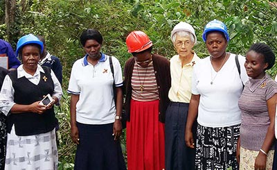 Sisters of the Holy Cross gather to celebrate the groundbreaking of hostels at school in Uganda